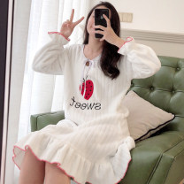 Nightdress Xiaomengmeng's appointment M,L,XL,XXL Sweet Long sleeves pajamas longuette winter Plants and flowers youth Crew neck Polyester (polyester) Embroidery More than 95% Coral velvet fabric 280g