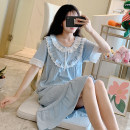 Nightdress Xiaomengmeng's appointment 16-5358 court style round neck bow is blue, 16-5358 court style round neck bow is pink 160(M),165(L),170(XL) Sweet Short sleeve Leisure home Middle-skirt summer Solid color youth Crew neck cotton lace More than 95% pure cotton 16-5358LA 200g and below