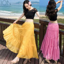 skirt Spring 2020 80cm long, 85CM long, 90cm long longuette Sweet High waist Splicing style Solid color Type A 25-29 years old 91% (inclusive) - 95% (inclusive) Chiffon other Ruffle, pleat, fold, Auricularia auricula, wave, stitching Bohemia