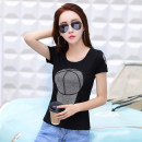 T-shirt White, black S,M,L,XL,2XL,3XL Summer of 2018 Short sleeve Crew neck Self cultivation Regular routine commute cotton 86% (inclusive) -95% (inclusive) 18-24 years old Korean version originality Geometric pattern Other / other Diamond inlay