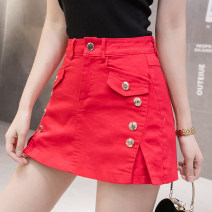 Jeans Spring 2021 Apricot, white, red, black S,M,L,XL,2XL shorts High waist Wide legged trousers routine Wash, zipper, button, multi pocket Cotton elastic denim Dark color 81% (inclusive) - 90% (inclusive)
