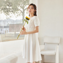 Dress Summer 2021 White blue S M L XL Mid length dress Short sleeve V-neck A-line skirt Princess sleeve 25-29 years old Type A Beauty garden DW129021 51% (inclusive) - 70% (inclusive) cotton Cotton 57.7% polyurethane elastic fiber (spandex) 5.5% others 36.8%