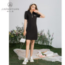 Dress Summer 2021 black S M L XL Middle-skirt singleton  Short sleeve commute Crew neck middle-waisted zipper A-line skirt routine 30-34 years old Type A Beauty garden lady J029087 31% (inclusive) - 50% (inclusive) nylon