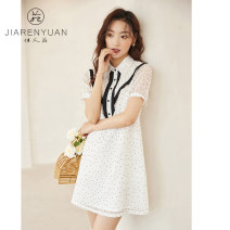 Dress Summer 2021 White purple S M L XL Mid length dress Short sleeve Polo collar other A-line skirt puff sleeve 25-29 years old Type A Beauty garden DW129014 31% (inclusive) - 50% (inclusive) nylon Lyocell fiber (Lyocell) 53.2% polyamide fiber (nylon) 46.8%
