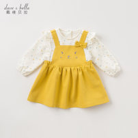 Dress female DAVE&BELLA Other 100% spring and autumn Europe and America Long sleeves Cartoon animation other Splicing style Class A Spring 2021 12 months, 18 months, 2 years old, 3 years old, 4 years old, 5 years old, 6 years old