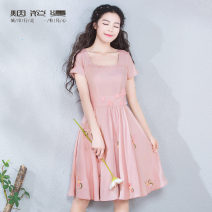 Dress Summer of 2019 Pink S M L XL XXL XXXL Mid length dress singleton  Short sleeve commute square neck middle-waisted Solid color Socket Big swing routine Others 25-29 years old Fireworks lady More than 95% polyester fiber Polyester 100% Pure e-commerce (online only)