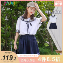 suit Aunt Zhu White [pre sold around April 22] 130cm 140cm 150cm 160cm 170cm 175cm female summer college Short sleeve + skirt 2 pieces Thin money There are models in the real shooting Socket nothing Solid color other Class B Other 100% Summer 2021 Chinese Mainland