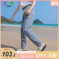 trousers Aunt Zhu female 150cm 160cm 165cm 170cm 175cm Blue [in stock] spring and autumn trousers Korean version There are models in the real shooting Jeans Leather belt middle-waisted other Don't open the crotch Other 100% Class B Spring 2021