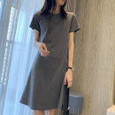 Dress Summer 2020 807 grey, 807 black S,M,L,XL,2XL Middle-skirt singleton  Short sleeve commute Crew neck middle-waisted Solid color Socket A-line skirt routine Type A Korean version More than 95% cotton