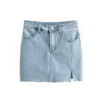 skirt Summer 2020 S,M,L Black, blue Short skirt High waist skirt Solid color 25-29 years old W+  8077048