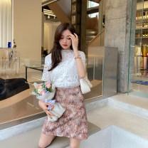 skirt Spring 2021 S,M,L Pink Short skirt commute High waist A-line skirt Type A 18-24 years old L10Q011