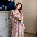 Dress Summer 2021 Small pink flower, big pink apricot flower S,M,L,XL Miniskirt singleton  Short sleeve Sweet V-neck Elastic waist Decor Single breasted A-line skirt Lotus leaf sleeve Others Type A Button 81% (inclusive) - 90% (inclusive) Chiffon princess