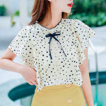 Lace / Chiffon Summer 2021 Apricot, red S,M,L,XL,2XL Short sleeve Versatile Socket singleton  easy Regular stand collar Dot Lotus leaf sleeve Sderl / sundel HXETX-8251-33 Bows, ruffles, prints, stitches, lace 96% and above polyester fiber