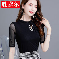 Lace / Chiffon Summer 2021 1238 black medium sleeve, 1237 black sleeveless M,L,XL,2XL,3XL elbow sleeve Versatile Socket singleton  Self cultivation Regular Half high collar Solid color routine MSTX-1238-1237-20 Hollow out, nail bead, gauze net 96% and above