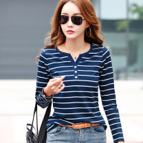 T-shirt S,M,L,XL,2XL,3XL,4XL,5XL Spring 2021 Long sleeves V-neck easy Regular routine commute cotton 96% and above Korean version Thin horizontal stripes, stitching Sderl / sundel Button, button