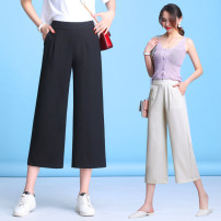 Casual pants S,M,L,XL,2XL,3XL,4XL Summer 2021 trousers Wide leg pants High waist Versatile routine 96% and above Sderl / sundel hemp pocket cotton