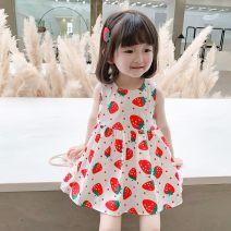 Dress Summer 2021 Picture color 80,90,100,110,120,130 Mid length dress singleton  Sleeveless Sweet Crew neck High waist Decor zipper Princess Dress Under 17 Other / other XHCB210056#02 51% (inclusive) - 70% (inclusive) cotton Countryside
