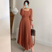 Dress Winter 2020 Black, orange S,M,L longuette singleton  Long sleeves commute square neck High waist Solid color Socket Pleated skirt routine 18-24 years old Type A Other / other Korean version fold other
