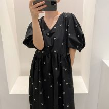 Dress Summer 2020 Apricot, black Average size longuette singleton  Short sleeve commute V-neck puff sleeve 18-24 years old Other / other Korean version
