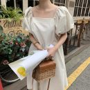 Dress Summer 2020 Apricot, green Average size longuette singleton  Short sleeve commute square neck Solid color puff sleeve 18-24 years old Other / other Korean version