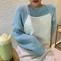 Dress Spring 2021 White suspender skirt, blue T-shirt Average size Two piece set Sleeveless commute Korean version