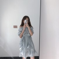 Dress Summer of 2019 Blue grey Average size Short skirt singleton  Short sleeve One word collar Elastic waist Solid color Socket Ruffle Skirt puff sleeve Others Type X sz219 More than 95% cotton