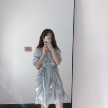 Dress Summer of 2019 Blue grey Average size Short skirt singleton  Short sleeve One word collar Elastic waist Solid color Socket Ruffle Skirt puff sleeve Others Type X sz219 More than 95% cotton