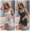Dress Summer 2020 Black, white, orange S,M,L Short skirt singleton  Sleeveless commute V-neck middle-waisted Solid color zipper One pace skirt other camisole 18-24 years old Type X Korean version Open back, zipper N6682 81% (inclusive) - 90% (inclusive) other polyester fiber