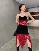 Dress Winter 2020 gules S,M,L longuette singleton  Sleeveless street V-neck middle-waisted Socket camisole