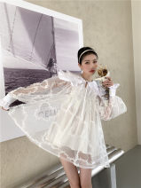Dress Spring 2021 white , White mesh , Blue and white jacquard , Black jacquard S,M,L Middle-skirt singleton  Long sleeves Sweet Doll Collar High waist Solid color Socket Princess Dress bishop sleeve 18-24 years old Type A Lace 31% (inclusive) - 50% (inclusive) Chiffon cotton