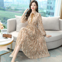 Dress Spring 2021 Apricot 2 / s, 3 / m, 4 / L, 5 / XL, 6 / 2XL Mid length dress singleton  Long sleeves commute Polo collar High waist Broken flowers zipper A-line skirt bishop sleeve Others Type A Brother amashi Bowknot, fold, lace, bandage More than 95% Chiffon silk