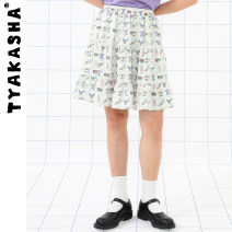 skirt Summer 2021 S M L Color checkerboard Middle-skirt commute Natural waist A-line skirt Broken flowers Type A 18-24 years old T21CQIP023 TYAKASHA printing Simplicity