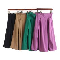 skirt Summer 2020 Average size Purple, green, Navy, beige Mid length dress Versatile High waist Solid color D02-11-10635