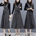 Dress Autumn of 2019 S,M,L,XL,2XL,3XL Mid length dress Two piece set Sleeveless commute V-neck middle-waisted Solid color Socket A-line skirt straps Type A Korean version More than 95% knitting polyester fiber