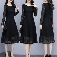 Dress Spring 2020 Black [long sleeve], black [short sleeve], black [Plush] S,M,L,XL,2XL,3XL,4XL Mid length dress singleton  Long sleeves commute Crew neck middle-waisted Solid color Socket routine Others Type A Korean version 81% (inclusive) - 90% (inclusive) Lace
