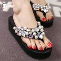 slipper 34 35 36 37 38 39 40 HeiTangMaLin Black 8cm black 6cm pink 6cm apricot 6cm Muffin bottom High heel (5-8cm) cloth Summer 2016 flip flops EVA sandy beach Sweet Sewing shoes Youth (18-40 years old) Solid color Diamond Beads slope with muffin with waterproof platform Q9 cloth cloth