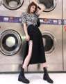 skirt Summer 2020 S,M,L black longuette Versatile High waist Irregular Solid color Type A 18-24 years old LWJB20PQ0044 30% and below other Other / other other