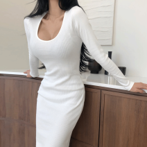 Dress Spring 2021 White, black S,M,L,XL longuette singleton  Long sleeves commute Crew neck middle-waisted Solid color Socket One pace skirt routine Others Type O Korean version Splicing A1 91% (inclusive) - 95% (inclusive) other cotton