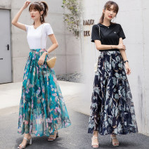 skirt Summer of 2019 M,L,XL Flower meaning, green feather, soft blue, can butterfly, ink dye, flower language, silver flower, green butterfly Sweet A-line skirt Decor Chiffon Other / other Bohemia