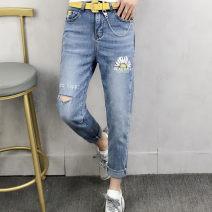 Jeans Summer 2021 wathet 26,27,28,29 trousers Natural waist Pencil pants routine 35-39 years old Wear, white, pattern, scratch Cotton denim light colour Color line 51% (inclusive) - 70% (inclusive)