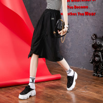 skirt Summer 2021 S,M,L,XL black Middle-skirt street Natural waist Solid color Type H 35-39 years old Mingba other Stitching, printing Europe and America