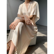 Dress Autumn 2020 Black, haze blue, pink apricot Average size Mid length dress singleton  Short sleeve commute V-neck High waist Solid color other A-line skirt routine Others Type A Korean version Frenulum P1218337 71% (inclusive) - 80% (inclusive) other polyester fiber