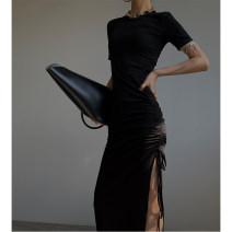 Dress Summer 2020 Black, brown S, M Mid length dress singleton  Short sleeve commute Crew neck High waist Solid color Socket One pace skirt routine Type X Korean version P0415Q841 51% (inclusive) - 70% (inclusive) cotton