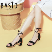 Sandals Brown Black three thousand three hundred and thirty-four trillion and three hundred and fifty-three billion six hundred and thirty-seven million three hundred and eighty-three thousand nine hundred and forty Basto / best Sheepskin (except sheep suede/sheep) Thick with Summer 2017 Open toe Tie