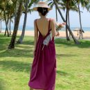 Dress Summer 2021 Purple, green S,M,L,XL longuette singleton  Sleeveless Sweet V-neck low-waisted Solid color Socket A-line skirt other camisole 18-24 years old Type A Miss Moso backless 31% (inclusive) - 50% (inclusive) other Cellulose acetate Bohemia