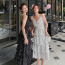 Dress Summer of 2019 Black spot, white spot S,M,L,XL,2XL Mid length dress singleton  Sleeveless commute V-neck High waist Dot Socket Cake skirt camisole 18-24 years old Type A Miss Moso Retro 9136# More than 95% other other