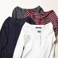 T-shirt White, dark grey, Navy, striped and red S,M,L Spring 2020 Long sleeves V-neck Regular cotton 96% and above