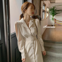 Dress Autumn 2020 Picture color S,M,L,XL Mid length dress singleton  Long sleeves commute tailored collar High waist Solid color Single breasted Ruffle Skirt puff sleeve 18-24 years old Type A Korean version Ruffles, Auricularia auricula, buttons 31% (inclusive) - 50% (inclusive) other other