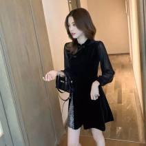 Dress Autumn 2020 Black, white vest S,M,L,XL,2XL Long sleeves commute High waist Solid color Other / other Retro