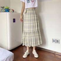skirt Spring 2021 S,M,L,XL,XXL Pink, fluorescent green Mid length dress Versatile High waist Cake skirt 18-24 years old 30% and below other polyester fiber